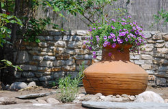 Amphora Used As Flowerpot. Ancient amphora with flowers in Mediteranean garden Stock Photography