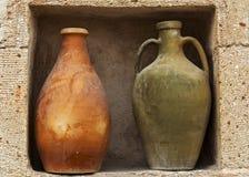 Amphora vintage pot ceramic old jug, Turkey. Amphora vintage pot old ceramic jugs for water and oil made from dark clay royalty free stock image