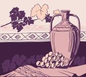 Amphora y vino antiguos stock de ilustración
