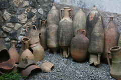 Amphorae Pompeian Помпеи (Неаполь - Италия) Стоковые Изображения