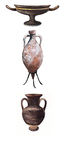 Amphorae and vases ancient Rome. Roman terracotta amphora and vases to hold wine or oil Stock Photos