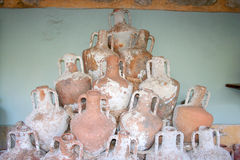 Amphoras. Historical amphoras pots at Bodrum Underwater museum stock photography