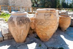 Amphoras. Giant clay jars from the Palace of Knossos. Knossos is the largest archaeological site on Crete Royalty Free Stock Image