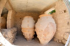 Amphoras. Giant clay jars from the Palace of Knossos. Knossos is the largest archaeological site on Crete Stock Photo