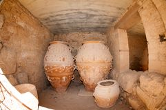 Amphoras. Giant clay jars from the Palace of Knossos. Knossos is the largest archaeological site on Crete Royalty Free Stock Photography