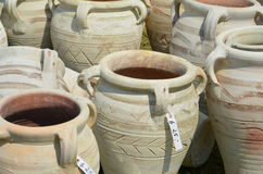 Amphoras as garden pottery Royalty Free Stock Photos