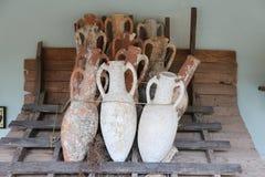 Amphoras in Bodrum Castle. Aegean Coast of Turkey royalty free stock image