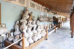 Amphoras in Bodrum Castle stock photo