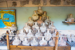 Amphoras. In Bodrum Castle, Turkey royalty free stock photos