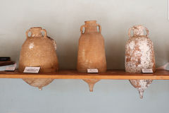 Amphoras in Bodrum Castle, Turkey royalty free stock images