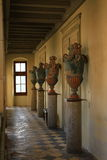 Amphoras in the hall of ancient castle Stock Photography
