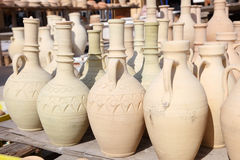 Amphoras in a traditional pottery Royalty Free Stock Images
