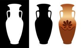 Amphorebild und -schattenbilder des Vektors griechisches im weißen und schwarzen Hintergrund lokalisiert lizenzfreie abbildung