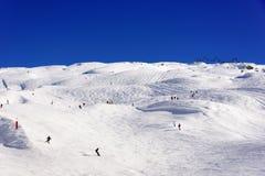 Ampia area del pendio dello sci in Flaine Immagini Stock