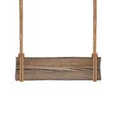 Ampia insegna di legno che appende sulle doppie corde Isolato su bianco Fotografie Stock Libere da Diritti