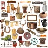 Ampia raccolta degli oggetti d'annata isolati Fotografie Stock