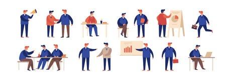 Ampia raccolta degli uomini d'affari del fumetto nelle situazioni differenti illustrazione di stock