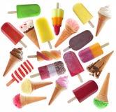 Ampia raccolta del gelato e dei lecca lecca Fotografie Stock Libere da Diritti