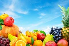 Ampia raccolta della frutta e delle verdure su un backgrou del cielo blu Fotografia Stock Libera da Diritti