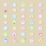 Ampia raccolta delle icone sorridente rotonde illustrazione vettoriale