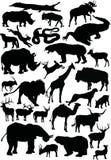 Ampia raccolta delle siluette degli animali Immagini Stock Libere da Diritti