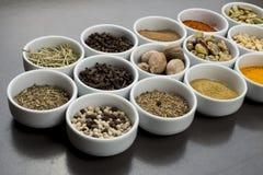 Ampia raccolta delle spezie differenti e delle erbe isolate sul nero Fotografia Stock