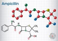 Ampicillin drugmolecule Het is bèta-lactamantibioticum Blad van document in een kooi Structureel chemisch formule en moleculemode vector illustratie