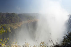 Ampio paesaggio del fondo di vista di Victoria Falls, Livingstone, Zambia Fotografia Stock