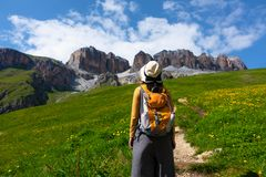 Ampio paesaggio di giovane trekking del viaggiatore lungo il prato del fiore fotografie stock libere da diritti