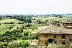 Ampio paesaggio Italia di paesaggio di Toscan Immagine Stock Libera da Diritti