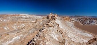 Ampio panorama gigapan della cresta della valle della luna in Atacama fotografia stock