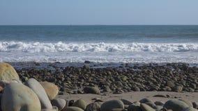 Ampio punto di vista dei surfisti che guidano le onde dal litorale roccioso verso la fine del pomeriggio stock footage