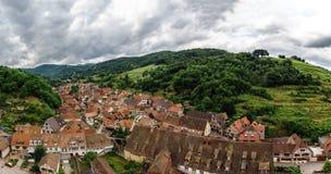 Ampio punto di vista panoramico della uccello-mosca Colline dell'Alsazia Fotografie Stock