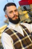 Ampio ritratto del tipo con una barba Immagini Stock Libere da Diritti