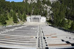 Ampitheater at Mount Rushmore. Amphitheater at Mount Rushmore National Memorial is a massive sculpture carved into Mount Rushmore in the Black Hills region of royalty free stock photo