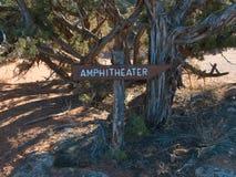 Ampitheater Podpisuje wewnątrz obozowisko fotografia royalty free