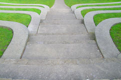 Ampitheater Steps. Terraced step seating in the ampitheater at Causland Memorial Park, Anacortes, Washington state Stock Photo