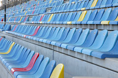Ample seats in main grandstand of BIC. The Bahrain International Circuit is a motorsport venue opened in 2004 Royalty Free Stock Photo