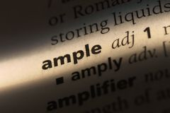Ample. Word in a dictionary.  concept Royalty Free Stock Image
