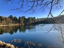 Ampleforth Lake, Yorkshire. stock photo