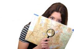 Ampliar len e um mapa imagens de stock royalty free