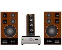 Amplificatore ed altoparlanti Fotografia Stock