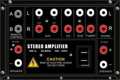 Amplificatore stereo, comitato del collegamento Fotografia Stock