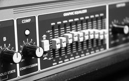 Amplifier. Musical amplifier. fragmented. b&w stock photography