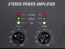 Amplifier. Estereo power amplifier panel with lights stock images