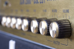 Amplifier. Detail of an golden electric guitar amplifier Stock Images