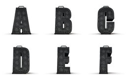 Amplifier alphabet A B C D E F Royalty Free Stock Photos