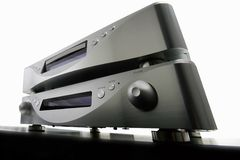 Amplifier and cd-player. Wide-angle view of a hi-fi cd-player and amplifier Stock Image