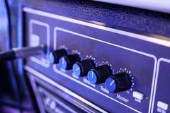 Amplifier close up, audio system royalty free stock image