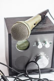 Amplifier close up and microphone Royalty Free Stock Photo